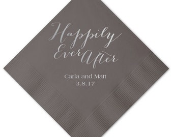Happily Ever After Personalized Wedding Napkins