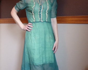 AQUA GREEN 1930's sheer silk DRESS 30's S (D8)
