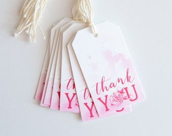 Pink Hand Lettered Packaging Tags - Wedding or Birthday Favor Tags - Watercolor Flower Thank You Gift Tags