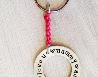 mummy keyring, mum keyring, handstamped keyring, hand stamped jewellery, personalised, keyring, mothers day, birthday, Mummy, Mama, Mum