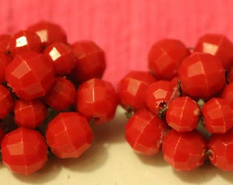 Lucite Cluster Clip On Earrings