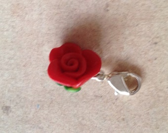Rose red, charm, necklace pendant