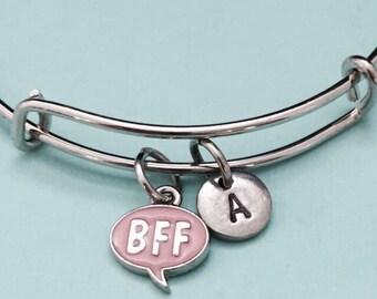 BFF bangle, BFF charm bracelet, expandable bangle, charm bangle, personalized bracelet, initial bracelet, monogram, initial charm, BFF charm