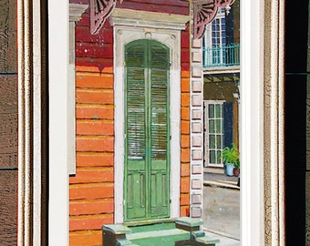 "New Orleans Shotgun House Framed Art 12x22"" Matted Print Signed and Numbered"