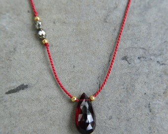 "16"" Silk Cord Necklace / Faceted Garnet / Garnet / Pyrite / Genuine 24k Gold Plate on Silver / Birthstone/Class/Sports Team Color"