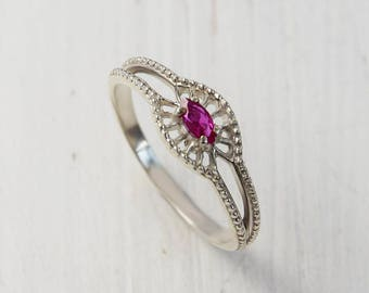 Ruby ring, Ruby anniversary ring, Silver solitaire ring, Art deco ring, Antique ring, Victorian ring, Solitaire ring, Marquise ring