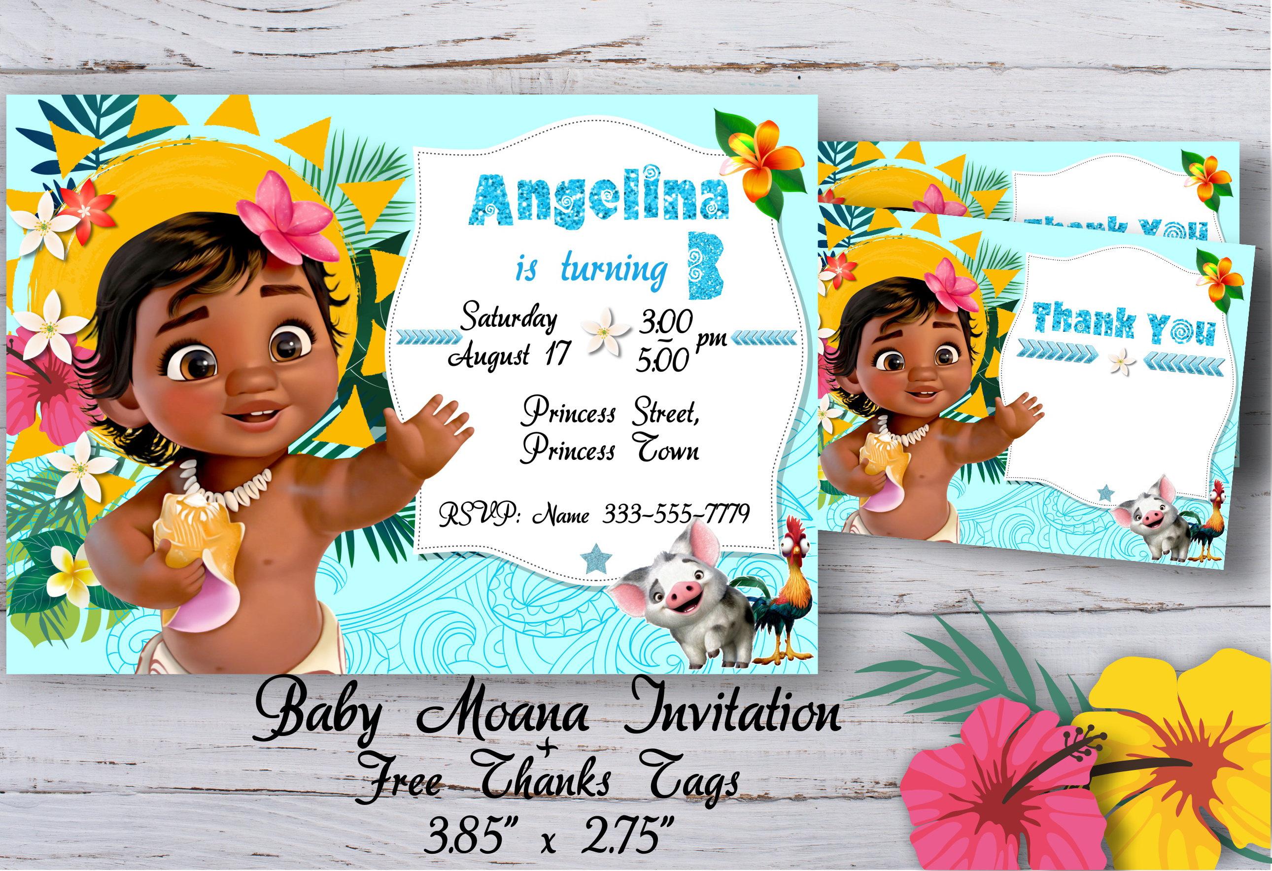 Baby Moana Invitation Baby Moana Birthday Invitation Baby