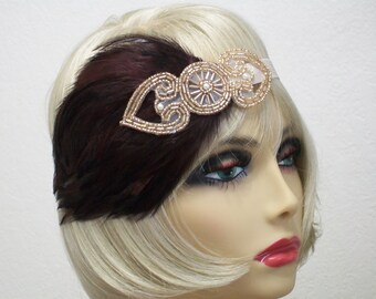 1920s headband, Great Gatsby headband, Flapper headpiece, Feather headband, Art Deco, Roaring 20s, Flapper style, Vintage inspired