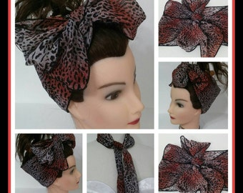Black and red vintage style wide chiffon hair wrap bow 1950s rockabilly pinup hair/ Dolly Bow hair