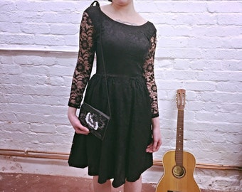 SALE Gorgeous early 1960's black lace dress