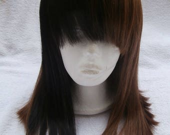 Human Hair Blended Two Toned Black And Brown Wig With Bangs