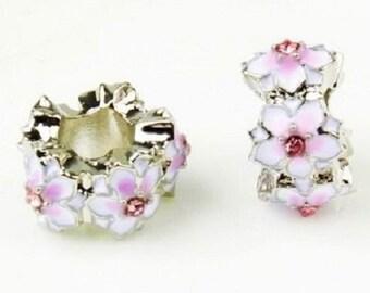 2 Pink Magnolia Flower Spacer Slide European Style Bead Charm -