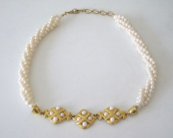 Vintage Pearl Necklace 1950s Necklace with Glass Pearl Beads and Gold Charms - Short Pearl necklace