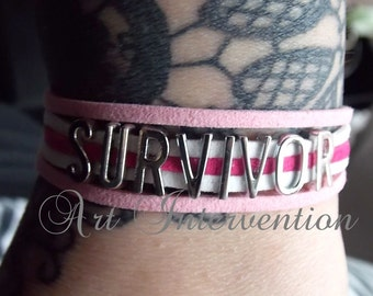 Survivor Bracelet - Metal Letters - Cancer survivor - One pound DONATED to CANCER RESEARCH