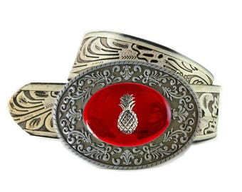 Pineapple Belt Buckle Inlaid in Hand Painted Red Enamel Belt Buckle for Snap Belts Tiki Accessory Custom Colors Available