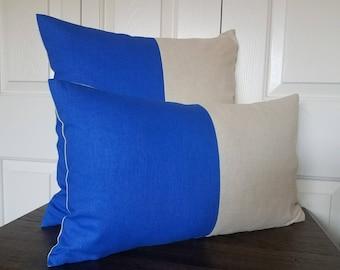 Blue Linen Color Block Pillow Cover Linen Pillow Decorative Throw Pillows Cushion Covers Accent Pillow Colorblock Modern Home Decor Pillows