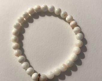 """7"""" Gemstone Stretch Bracelet with Copper Charm"""