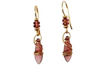 Boho Earrings Goldfilled Purple Jewelry Dainty Drop Earrings Dangle Earrings Gifts Gift for Her Everyday Earrings Mother Friend Handmade
