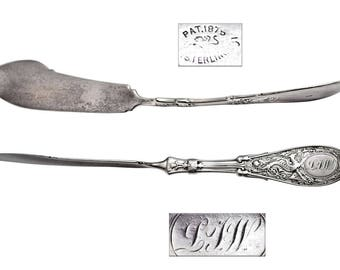 Antique Whiting Arabesque Sterling Silver Master Spreader Knife.