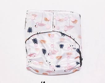 Cloth Diapers, Cloth Diaper Pattern, One Size, All in one, Modern, Bamboo, Nappies, Baby Diaper, Baby Diaper Cover, Flamingo, Pink, Navy