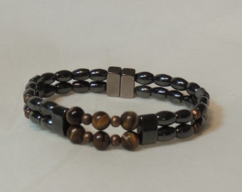 Tiger Eye and Natural Magnetic Hematite Double Bracelet