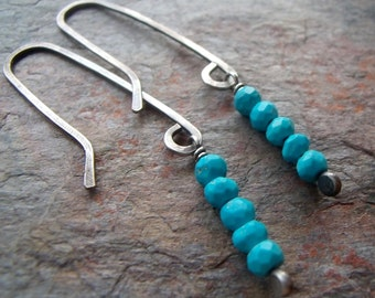 Turquoise Sterling Silver Earrings - Faceted Turquoise on Handformed Sterling Silver Earwires