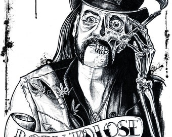 "Art Print  Poster 12 x 18"" - Lemmy Kilmister - Motorhead music rock and roll drugs tattoo line art ink black and white"