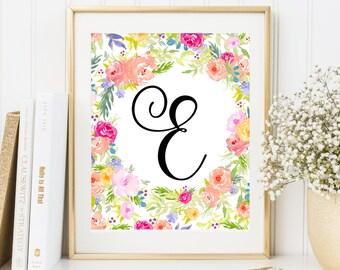 Nursery Monogram E Letter Custom Printable Art Nursery Monogram Letter floral frame monogram Initial calligraphy monogram floral nursery art