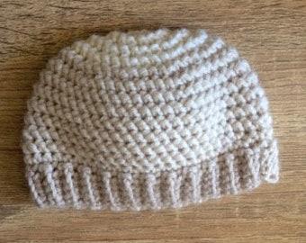 Crocheted Herringbone baby hat