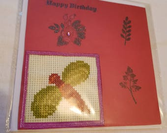 Cross Stitch Dragonfly Card
