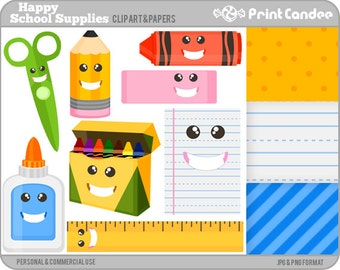 70% OFF SALE! - Happy School Supplies - Digital Clip Art - Personal and Commercial - back to school pencil crayons ruler glue lined paper