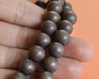 40pcs 10mm Wood Natural Mocha Brown Round Beads 16in Strand