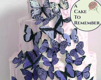Woodland wedding topper, 30 blue purple edible ombre wafer paper butterflies. Edible butterfly cakes decoration, rustic ombre cake ideas.