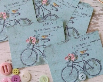 Small notecards - mini notecards - shabby chic - bicycle - bird - flowers