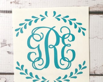 Custom Vinyl Monogram, Vine Font Three Initials Personalized Monogram Vinyl Decal, Laurel Wreath