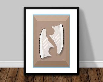 adidas Originals Ultra Boost Cream Illustrated Poster Print | A6 A5 A4 A3