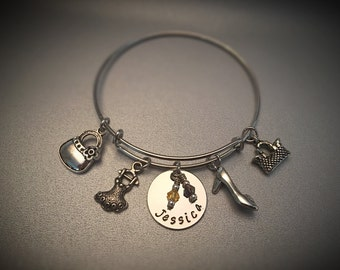 Love of Shopping Bangle Personalized Name Disc Hand Stamped