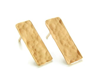 Bar Earrings, Gold Linked Earrings, Hammered Bar Earrings, Stud Earrings, Dainty Bar Earrings, Silver Earrings, Rose Gold Earrings
