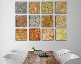Original Abstract Painting, neutral colors gray cream taupe Mix and match panels, Sculpted Textured Painting, Abstract Art square paintings