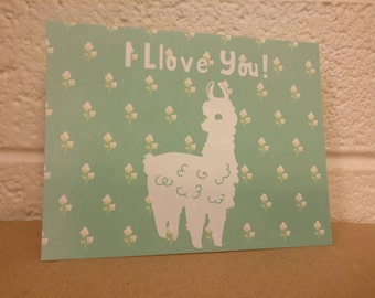 I Llove You! Llama Card