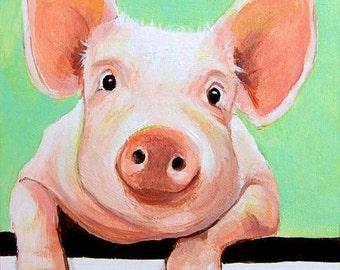 Cute animal art, pig art, pig painting, farm animal art, kitchen wall art, nursery animal art, nursery wall art, small art by Paula Prass