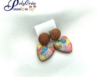 Mosaic polymer clay earrings
