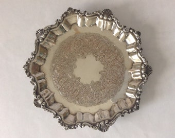 Vintage Silver Plate Salver, Footed Tray