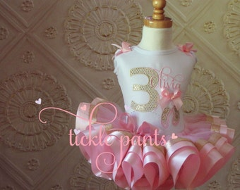 For all sizes - Ballerina Ballet Slippers Tutu Outfit - Baby girls 1st birthday - Includes top and ruffled tutu-  Pink gold sparkle