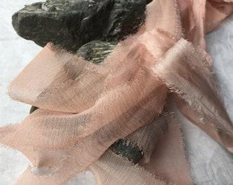 BALLET SHOES plant dyed recycled silk chiffon ribbon//hand dyed//styling//wedding ribbon//bridal ribbon//stationery//gift ribbon//pink