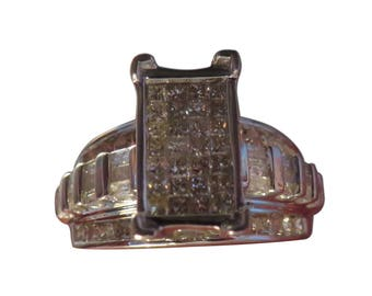 925 Sterling Silver Diamond Ring Diamond Engagement Silver Engagement Silver Diamond Ring Silver Wedding Ring 1 Carat Diamond Ring