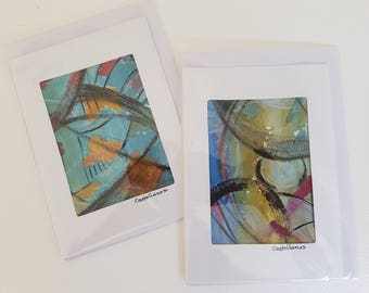 Set of Two Abstract Painting, Art Cards