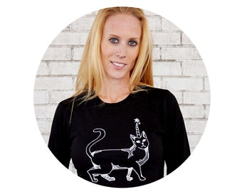 Long Sleeved Ladies T Shirt, Cat With Horn, Crazy Cat Lady, Caticorn, Cotton Crewneck Tshirt, Graphic Tee