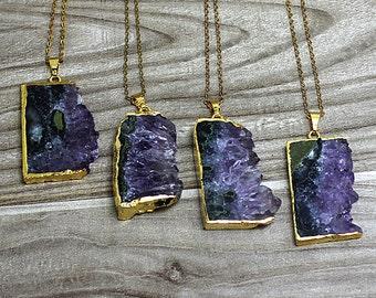 Natural Amethyst slice Pendants // Gold Amethyst Necklace // Raw gemstone Pendant // Irregular stone jewelry B985