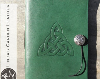 Handmade Leather Celtic Trinity Knot Journal or Sketchbook